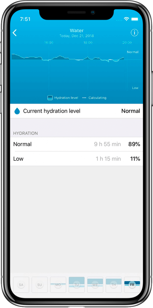 Hydration screen HEALBE App
