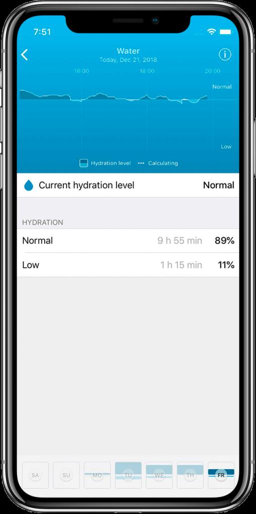 Hydration screen HEALBE App
